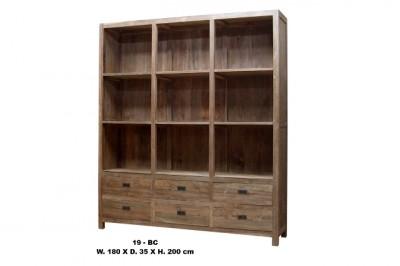 blank teak boekenkast strak met 6 lades