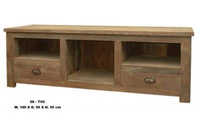 Blank teak TV kast met 3 open vakken en 2 laden