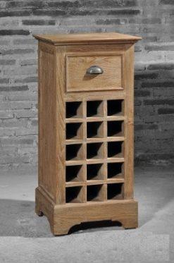 blanke teak wijnkast smal open vakken lade