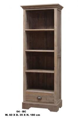 teak boekenkast smal met lade