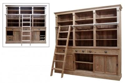 blank teak boekenkast met ladder