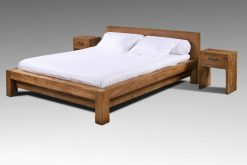 massief strak robuust teak ledikant bed