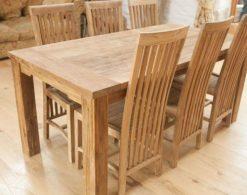 robuuste, landelijke teak tafel rustiek blad