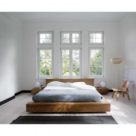 modern strak massief teak ledikant bed