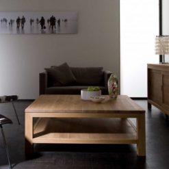 blank teak salontafel strak onderblad