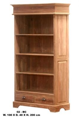 onbehandeld teak open boekenkast 2 laden