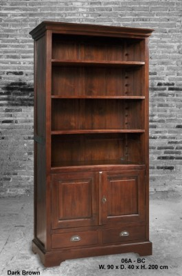 koloniaal teak boekenkast 2 deuren 2 laden