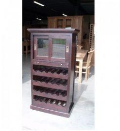 koloniale teak wijnkast glazen uitrekbaar lade