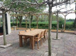teak tuinstel tafel 6 stoelen armleuning