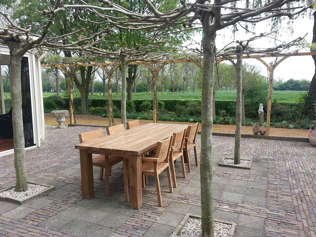 Teak tuinset tafel en stoelen teak koloniaal