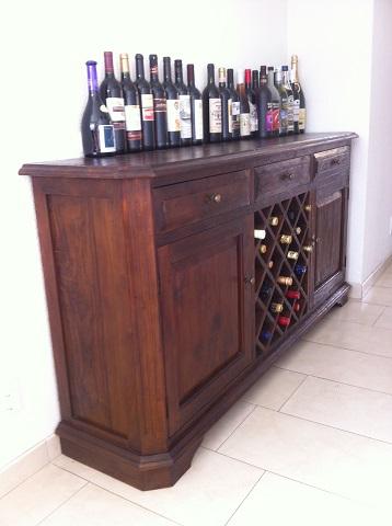 maatwerk teak dressoir wijngedeelte