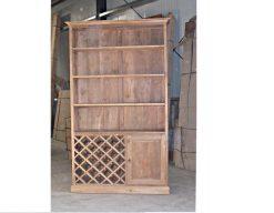 maatwerk teak boekenkast met wijngedeelte