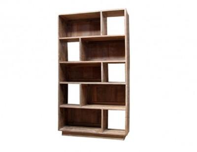 moderne strakke teak boekenkast dichte en open vakken