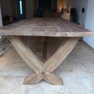 Teak tafel houten x-poot