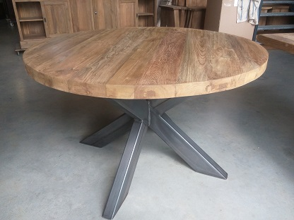 Ronde Tafel Hout : Ronde eettafel hout stoere ronde eettafel oud hout robuuste
