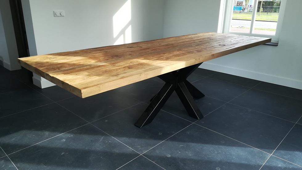 Tafel 300cm met spinpoot specialist in teak maatwerk for Tafel laten maken