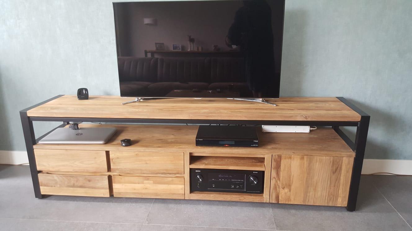 Tv Meubel Gerecycled Teakhout.Tv Meubel 200cm Specialist In Teak Maatwerk